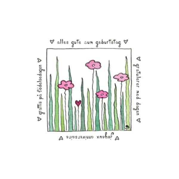 Karte Herzenskunst Alles Gute Zum Geburtstag Blüten