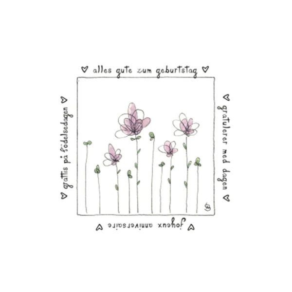 Karte Herzenskunst Alles Gute Zum Geburtstag Blumen