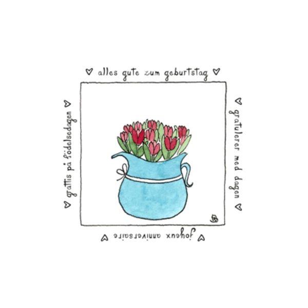 Karte Herzenskunst Alles Gute Zum Geburtstag Tulpen