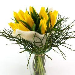 Tulpen Im Filz Creme Vase