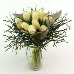 Tulpen Im Filz Grau Vase