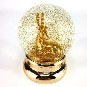 Schneekugel Hirsch gold Glitter